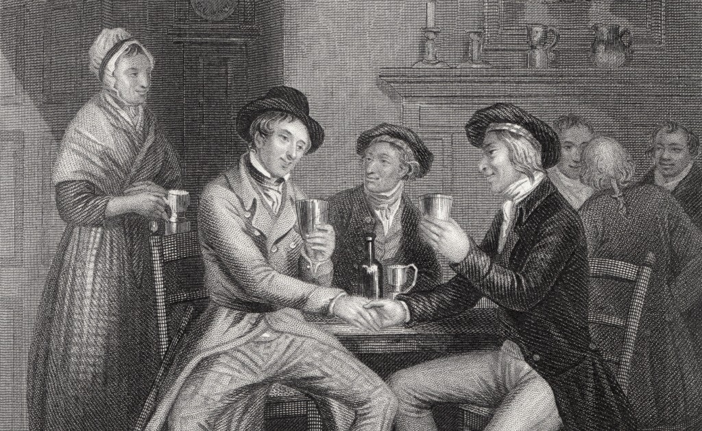Illustration Of 'Auld Lang Syne' By J.M. Wright And Edward Scriven   © WikiCommons