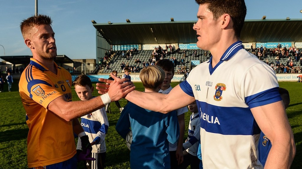Jonny Cooper, Na Fianna, and Diarmuid Connolly, St Vincents, shake hands at Parnell Park| Courtesy of GAA.ie