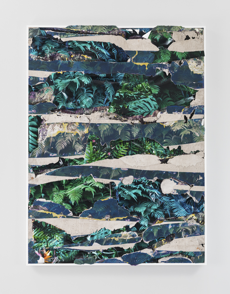 Kauai Green Concrete Bend, 2014 C-prints, emulsion transfer, concrete, aluminum frame 60 1/2 x 45 1/2 x 2 inches | Courtesy of Letha Wilson