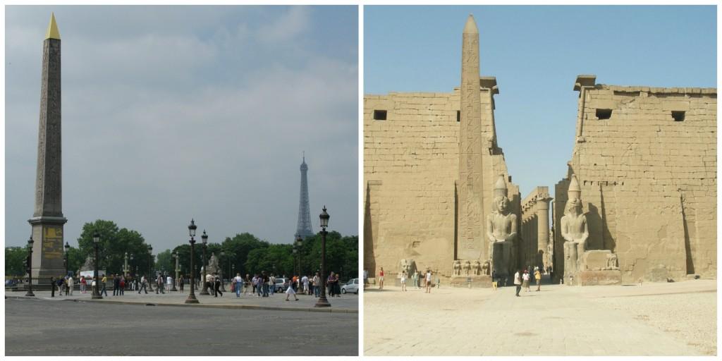 Luxor Obelisk in Paris │© Andy Hay ; Luxor Obelisk in Luxor │© Vyacheslav Argenberg