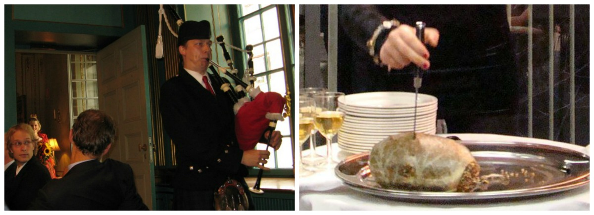 Piping In The Haggis | © NatalieMaynor/Flickr // Address To A Haggis | © WikiCommons