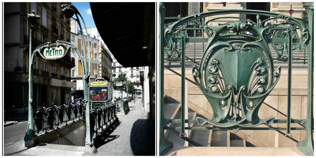Reaumur-Sébastopol metro entrance │© Randolph Croft ; Metro entrance detail │© Jean-Pierre Dalbéra