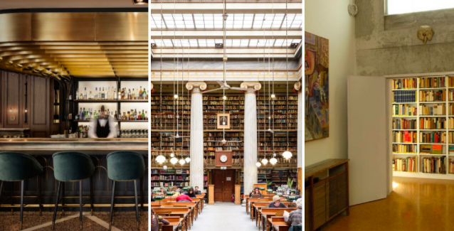 Left to right: Zonar's Café, the interior of the National Library, and the Ghika Gallery