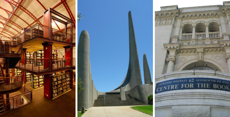 From L to R: Interior of Cape Town Central Library; the Afrikaans language monument; the Center for the Book
