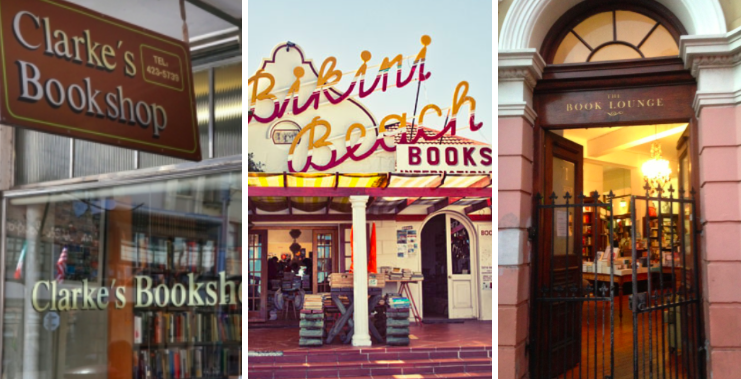 From L to R: Clarke's Bookshop; Bikini Beach Bookstore; and the Book Lounge
