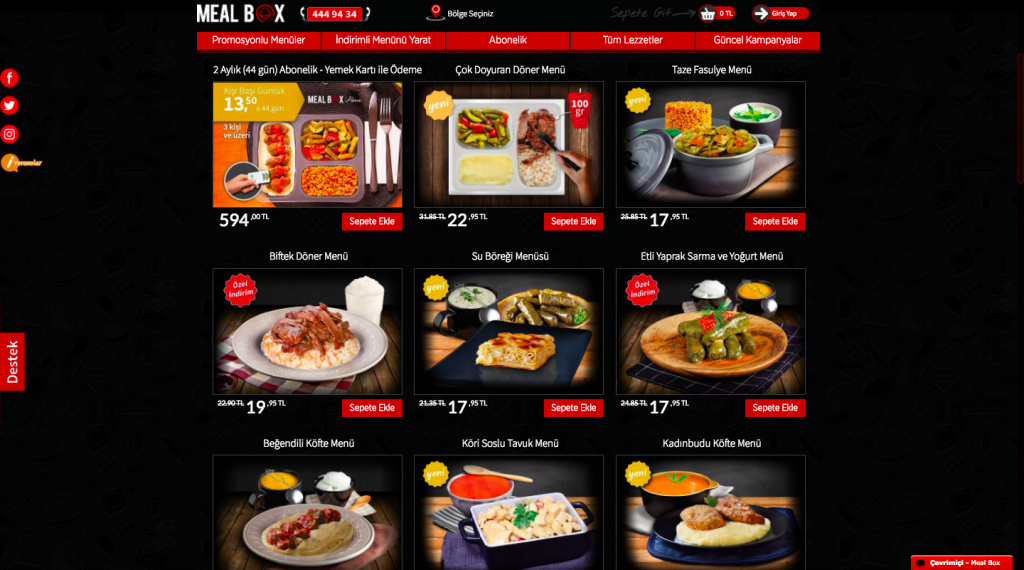 Screenshot of Mealbox Website