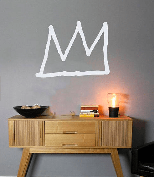 Jean-Michel Basquiat-style crown wall decal, via Etsy