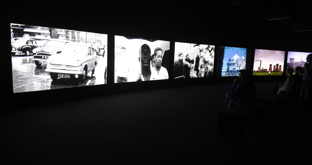 Installation view of 'John Akomfrah: Purple' at The Curve, Barbican Centre   Photo: Anthony Harvey / Getty Images