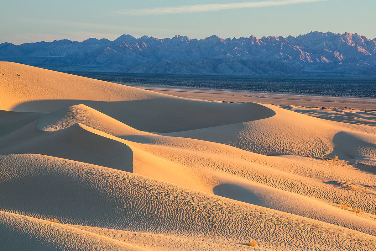 Wind swept sand dunes line a valley with a large mountain range on the opposite side | Public Domain/WikiCommons