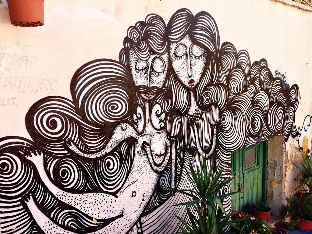 Art Work on Klepsydra street, Plaka | © Dimitris Kamaras/Flickr