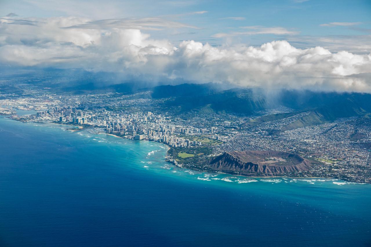 Oahu Hawaii from Hawaiian Airlines Flight to LA | © Anthony Quintano/Flickr