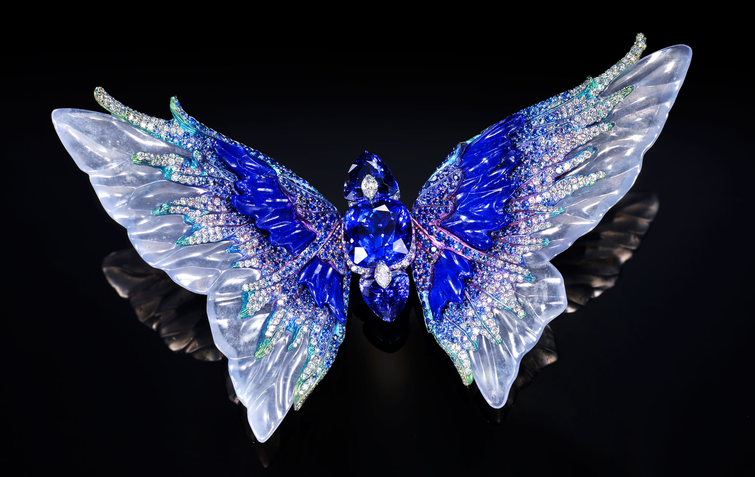 """© Wallace Chan """"Celestial Brooch Fluttery Whimsical Blue"""""""