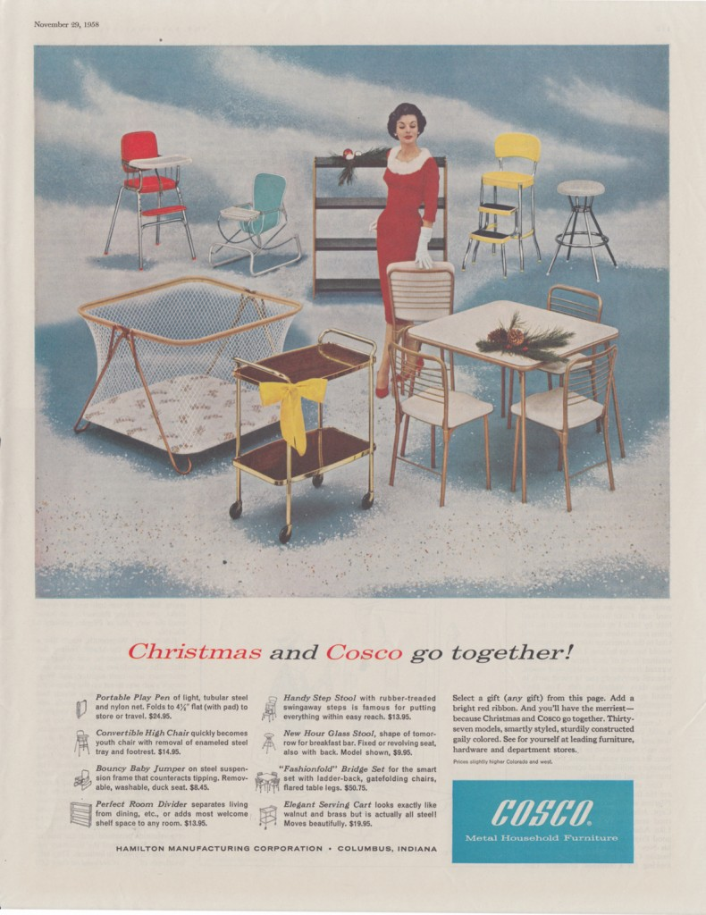 Advert for Cosco Metal Furniture, 1958. Reproduced with permission for Ameriwood Industries, Inc. DBA Cosco Home and Office Products