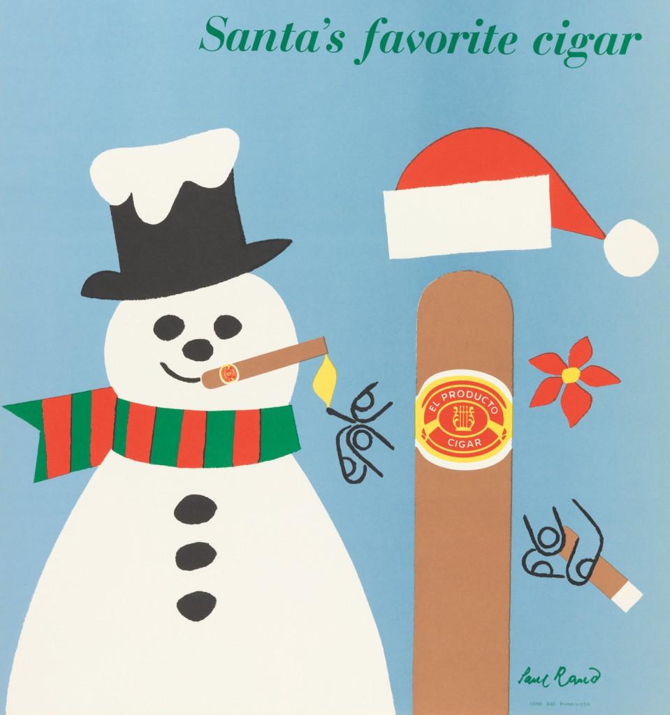 Paul Rand illustration for El Producto Cigars, 'Santa's Favorite Cigar', offset lithograph on paper, 1953-7, Cooper Hewitt, Smithsonian Design Museum/Art Resource, New York | Photo by Matt Flynn