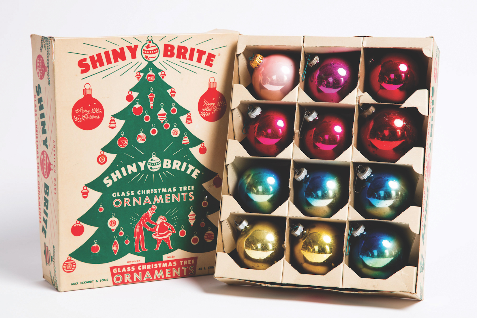 assorted shiny brite ornaments from the 1950s and 1960s shown in a box from the - Christmas Tree In A Box