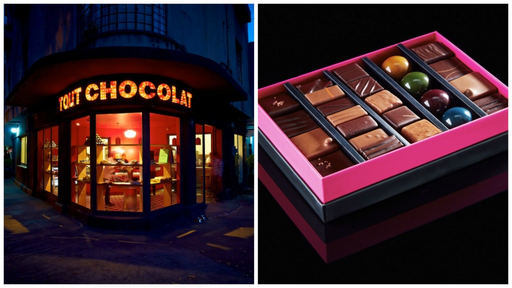 The iconic storefront and some perfectly packaged products | Courtesy of Tout Chocolat
