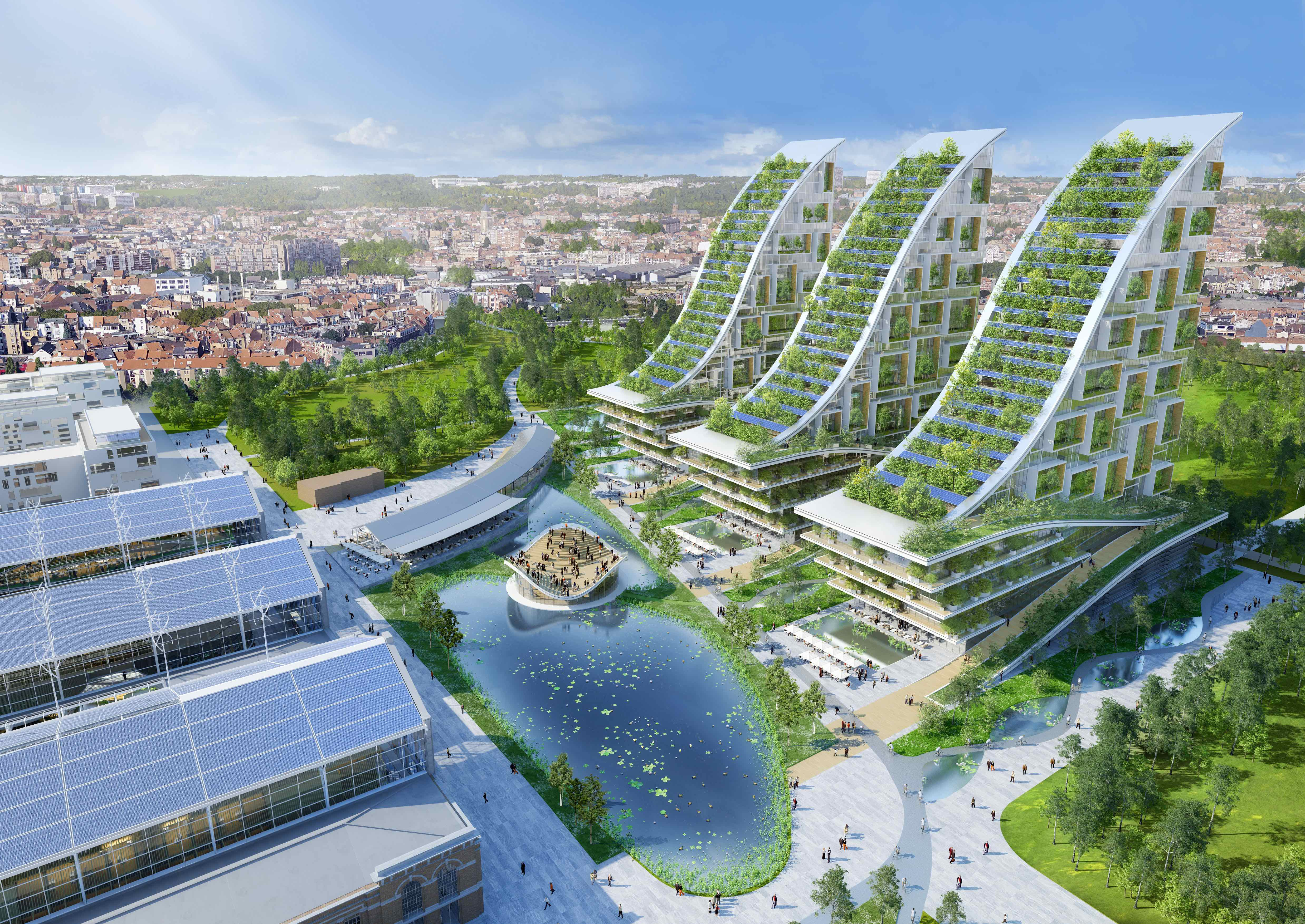 Aerial view of the energy-plus master plan © Vincent Callebaut Architectures