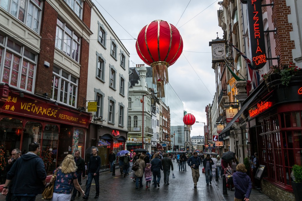 A view down a street in Chinatown London