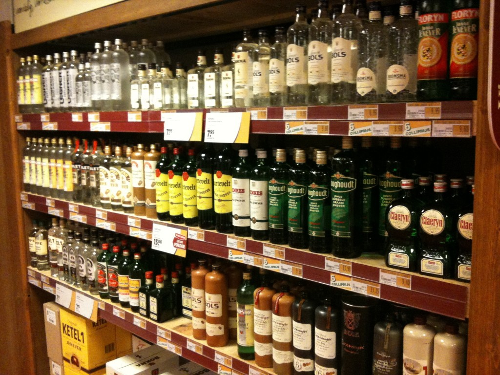 Most off licenses in Amsterdam keep a shelf allocated for jenever   © cafuego / Flickr