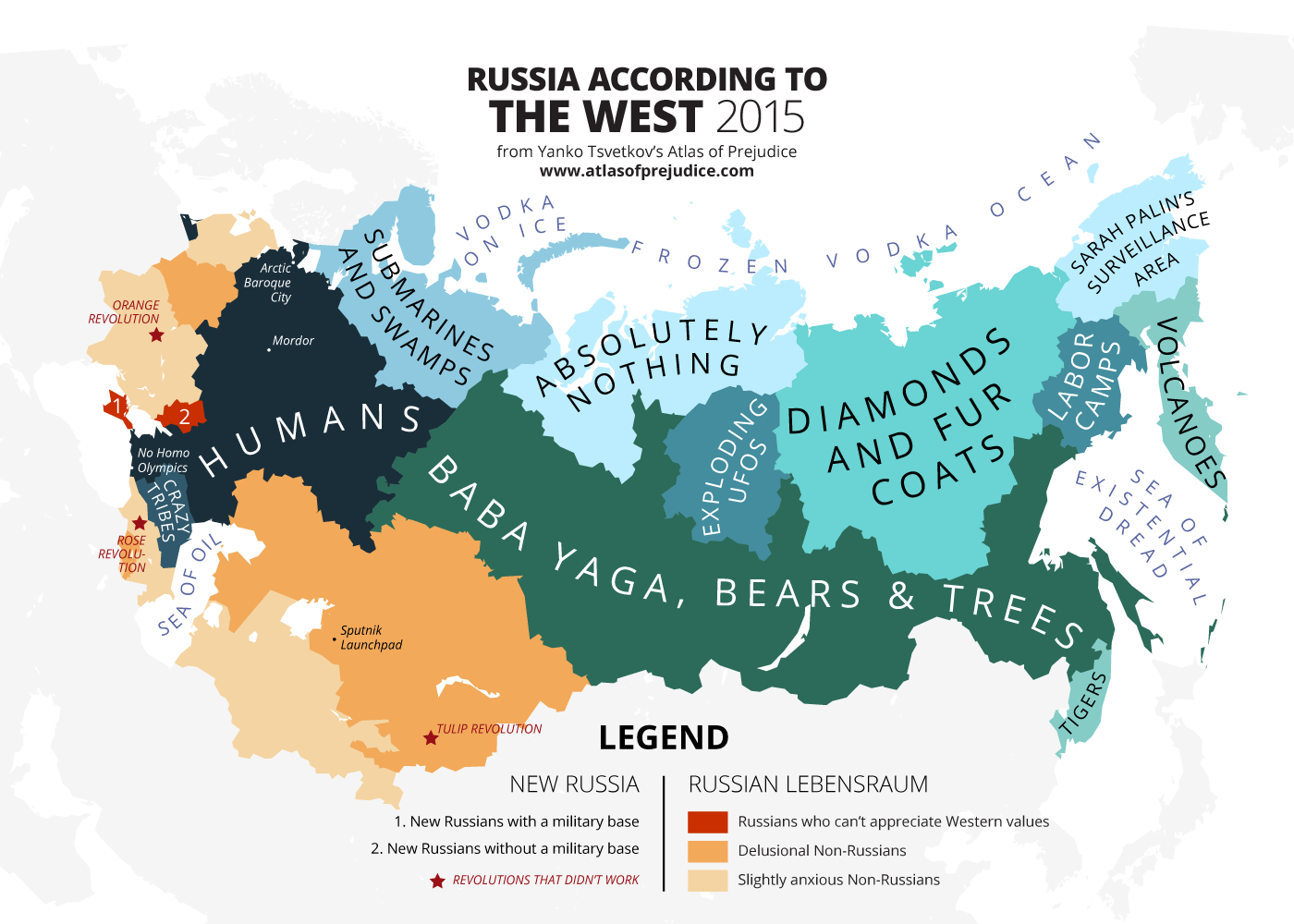 This Man Creates The Most Offensive Maps Of Stereotypes In The World - Russia on a world map