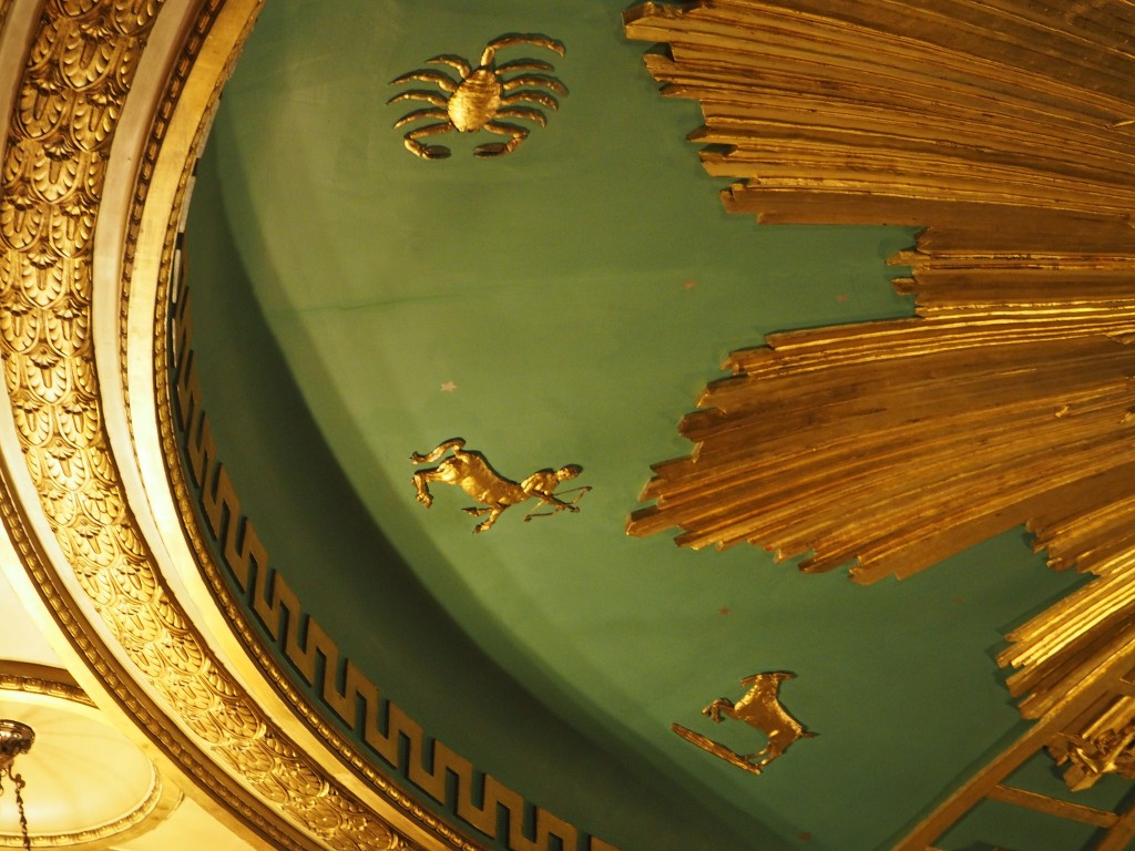 The green and gold ceiling of the Masonic temple