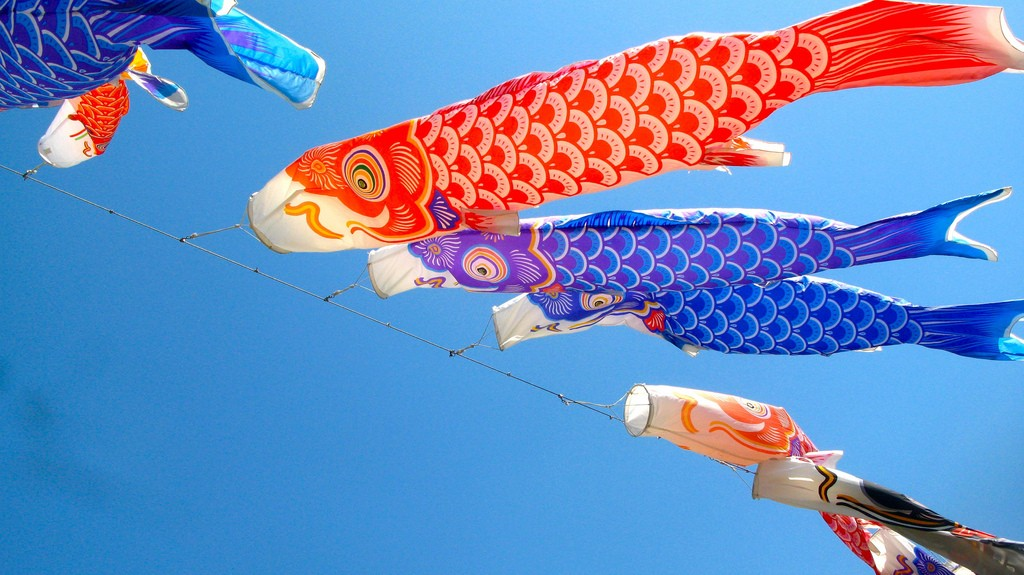 Carp windsocks, also known as kites or streamers, for children's day | rumpleteaser / Flickr