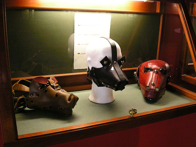 BDSM masks on display in the Sex Machines Museum / ©Barbara / Wikimedia Commons