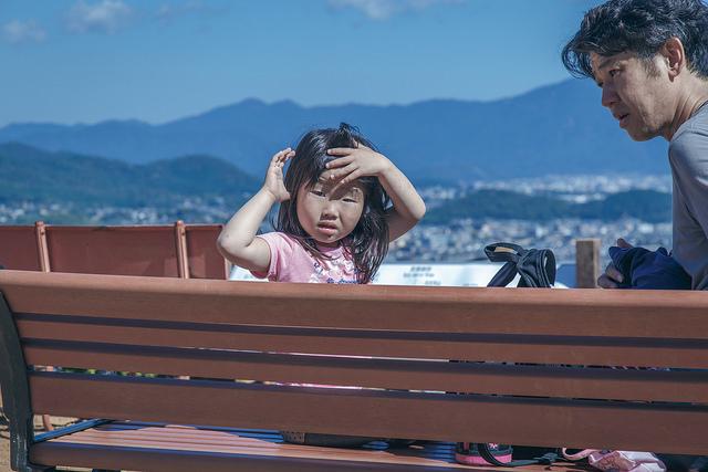 Enjoying the view from Arashiyama Monkey Park