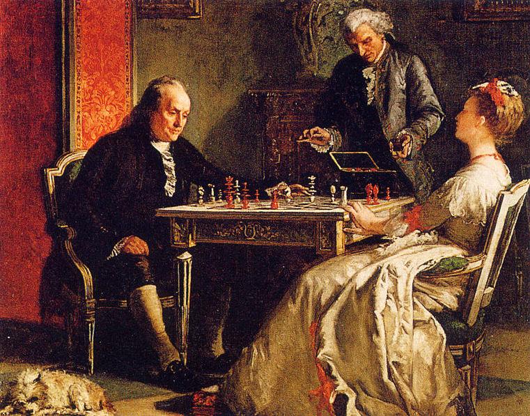 Benjamin Franklin playing chess. | © Wikimedia.