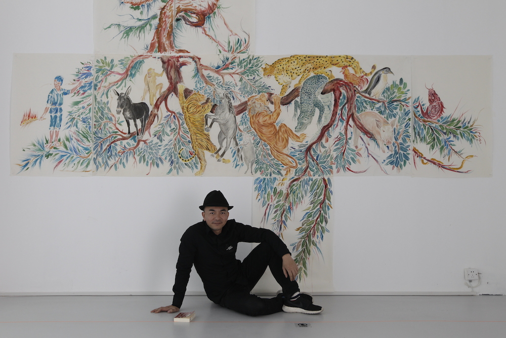 Chinese Artist Wu Junyong in front of his video installation 'Flying Arc' - K11 Art Mall, Shanghai[4]