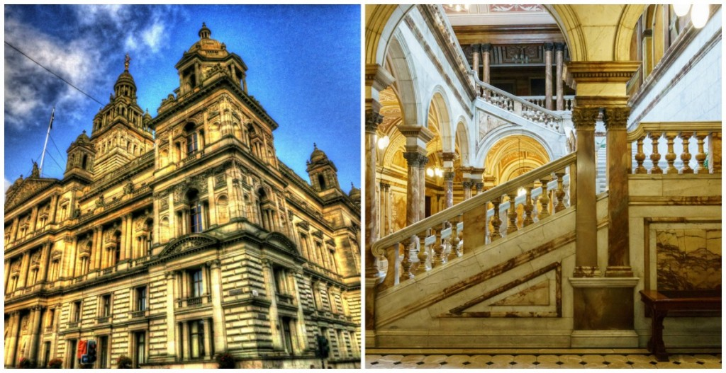 Glasgow City Chambers | © Paul Walter/Flickr // Carrara Marble Staircase | © User:Colin/Flickr