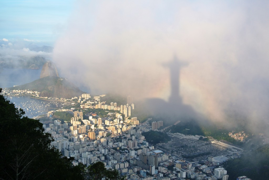 Ben Goodwin, in the shadow of Christ the Redeemer, Rio de Janeiro, Brazil.