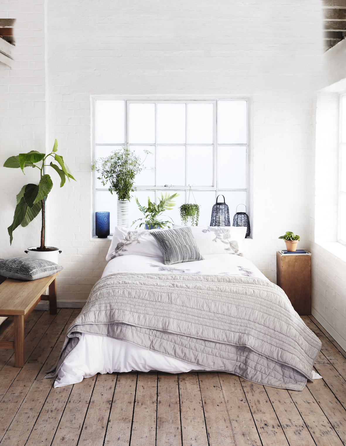 Fresh greenery adds vitality to this crisp white interior | Courtesy of Debenhams