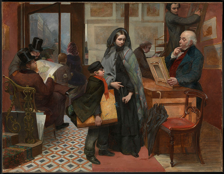 Nameless and Friendless, painted by Emily Mary Osborn (1857). Samantha Ellis makes the case that it was inspired by The Tenant of Wildfell Hall. It is hard to see how it wasn't | WikiCommons