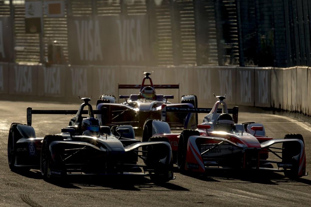 Maro Engel (DEU), Venturi, Sam Bird (GBR), DS Virgin Racing and Nick Heidfeld (DEU), Mahindra Racing on track at the 2016 FIA Formula E Marrakesh ePrix (L-R) | Courtesy Formula E