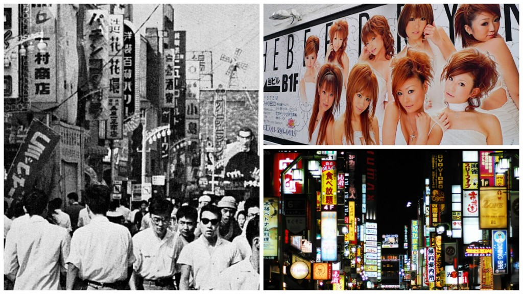 Kabukicho in the 1960s | © Seiji Shimbun Sha/WikiCommons | Hostess club advertisement | © Danny Choo/Flickr | Kabukicho in the modern era | © Nguyen Hung Vu/Flickr
