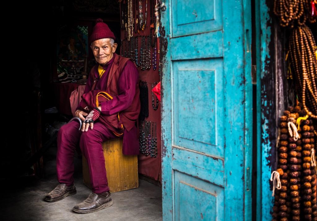 Francis Cox, Nepalese man in a doorway, Bhaktapur, Nepal