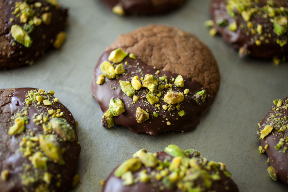 Gluten-free hazelnut cookies with chocolate and pistachios  © lpshutter/Shutterstock
