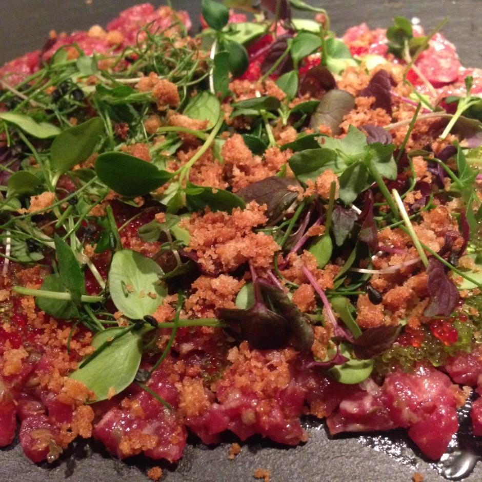 Beef tartare at Glass Hostaria