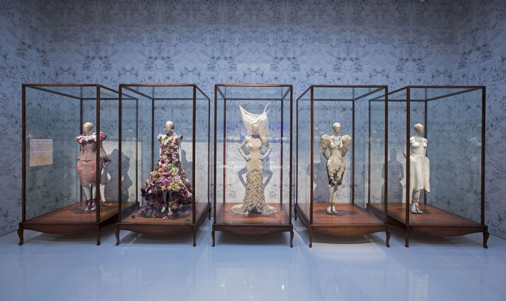 Installation view of Romantic Naturalism gallery, Alexander McQueen Savage Beauty at the V&A
