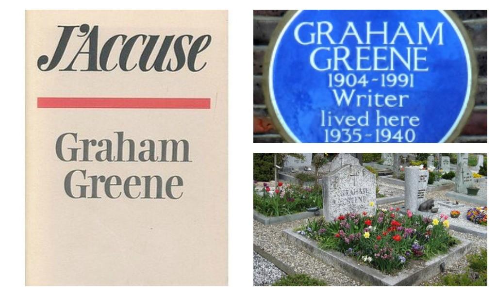 © The Bodley Head | The Graham Greene plaque in Clapham, London © spudGun67/WikiCommons | Graham Greene's grave © Philoum/WikiCommons