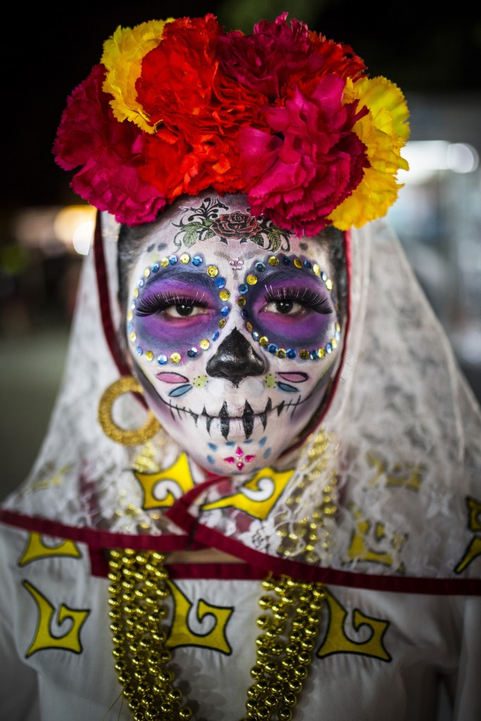 Laura Dale, woman in Day of the Dead costume, Parque de las Palapas, Mexico