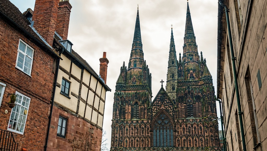 Lichfield Cathedral amongst the side-streets