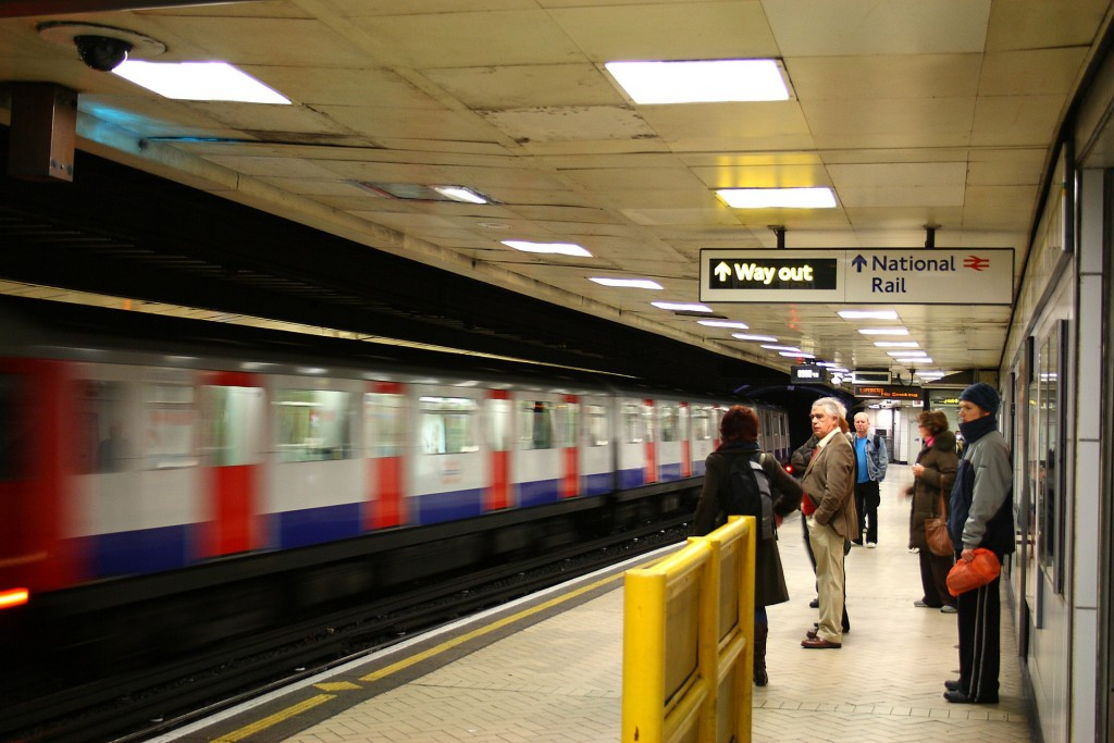 People standing on a Tube platform