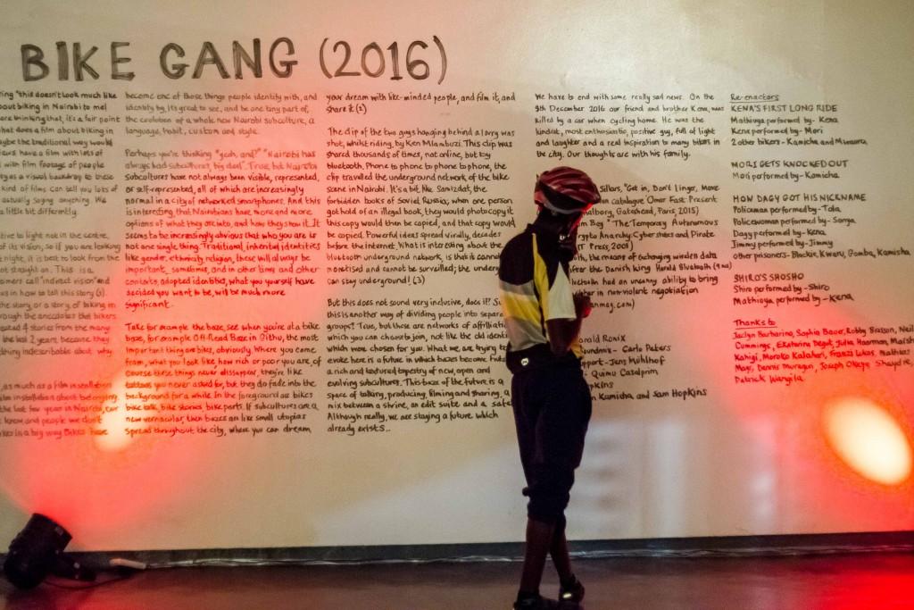 The wall write-up at Goethe-intistut auditorium during the exhibition | Courtesy of Julian Manjahi / Goethe-Institut