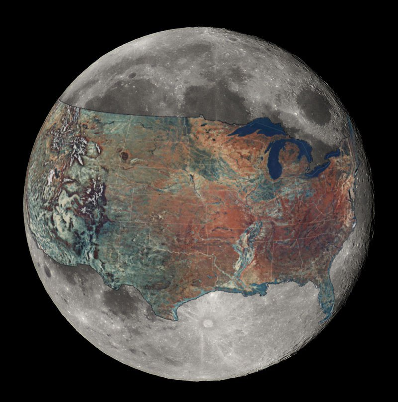 This Map Shows The Contiguous United States Overlaid On The Moon