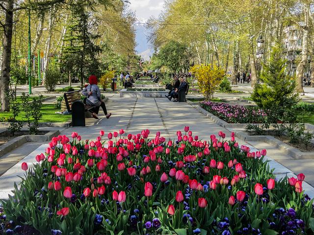 A maze of flower-lined pathways at Mellat Park | © Ninara / Flickr