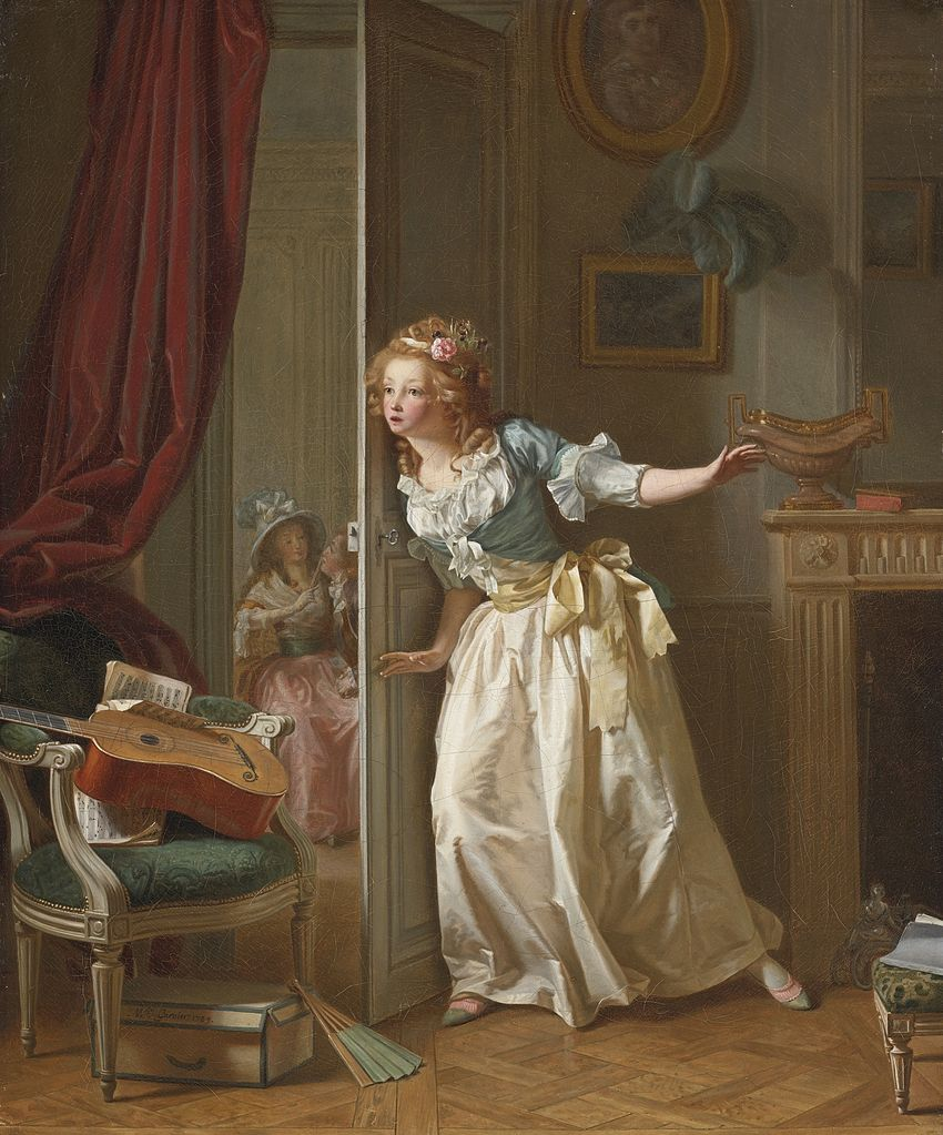 Michel Garnier, 'Young Girl Listening to a Conversation Between Two Lovers,' 1789. Courtesy of WikiCommons