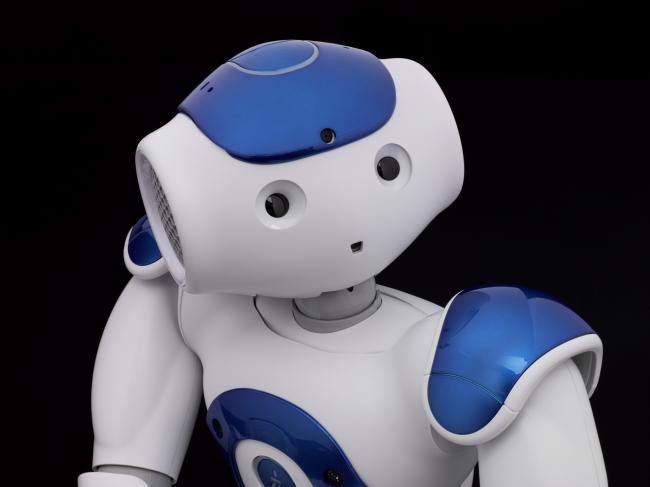 A Nao V5 Evolution humanoid sits up