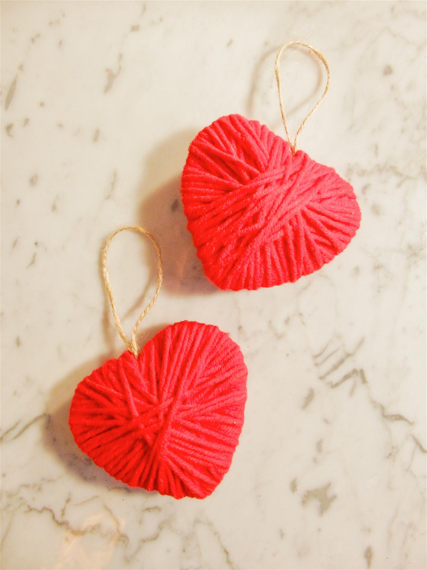 Valentine's Day DIY yarn hearts2
